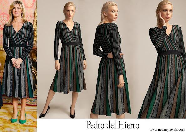 Begona Gomez wore Pedro del Hierro Lurex jersey knit dress