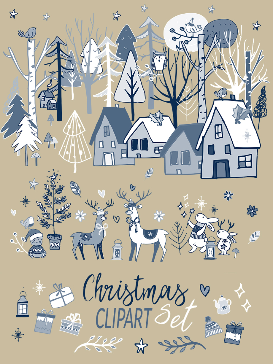 Christmas Wood Clipart Set