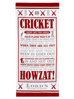 Beach towel featuring the somewhat confusing 'rules' of cricket.