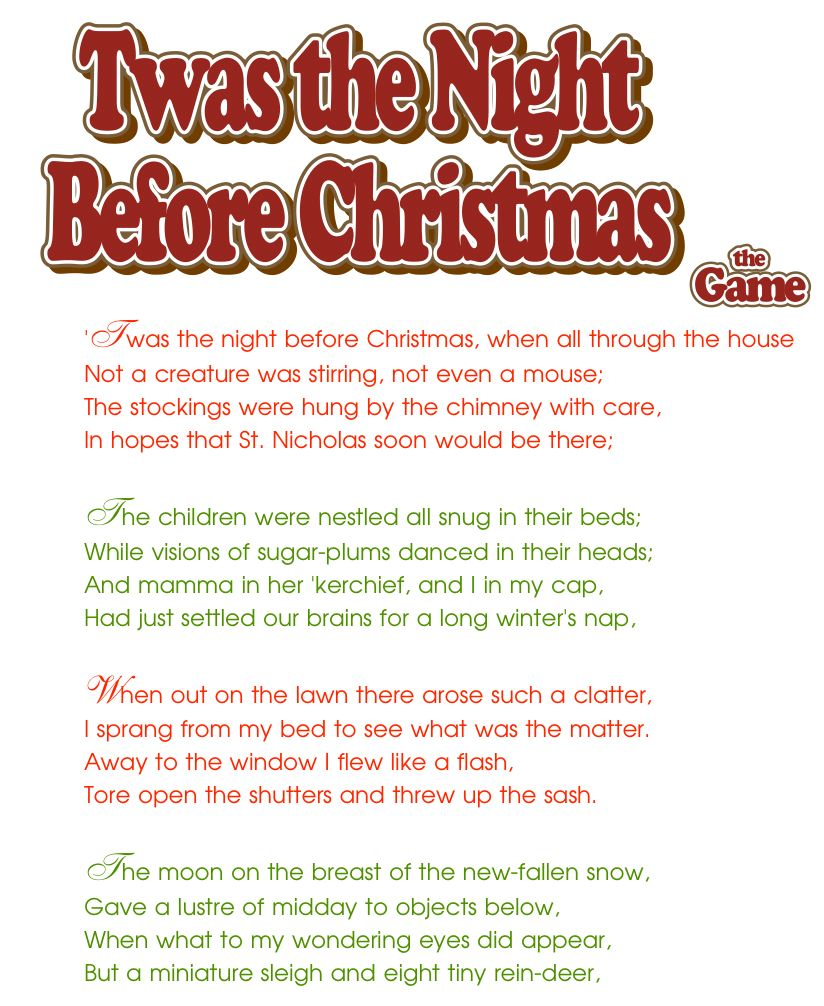 Twas the night before christmas words short version