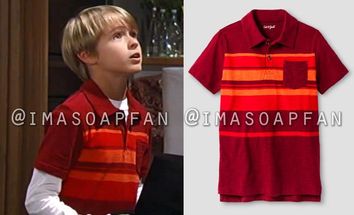 Jake Spencer, Hudson West, Red and Orange Striped Polo Shirt, General Hospital, GH