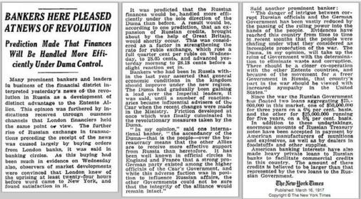 33bdcc90e020 Ο ρόλος των Τραπεζιτών στην Επανάσταση του 1917 (και όχι μόνο)