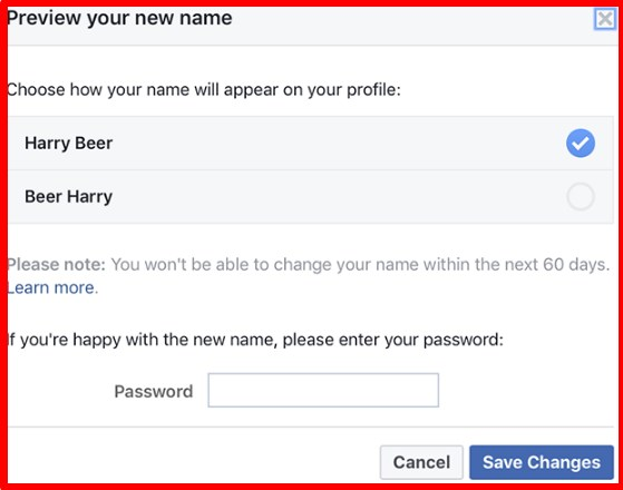 how to change name in facebook account after limit