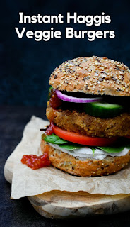 A quick and delicious vegan burger made with veggie haggis, neeps, tatties, oats and spices. Made in minutes, this is the perfect dish for an easy Burns Night supper. #burnsnight #haggis #veganburgers #veggieburgers #veggiehaggis #veganhaggis #haggisrecipes #scottish #scotland