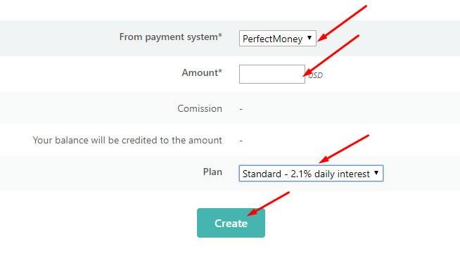 Создание депозита в Financy 2