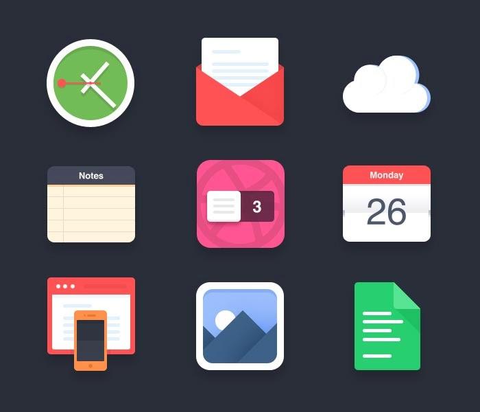 Free Flat Stylized Icon Set 2