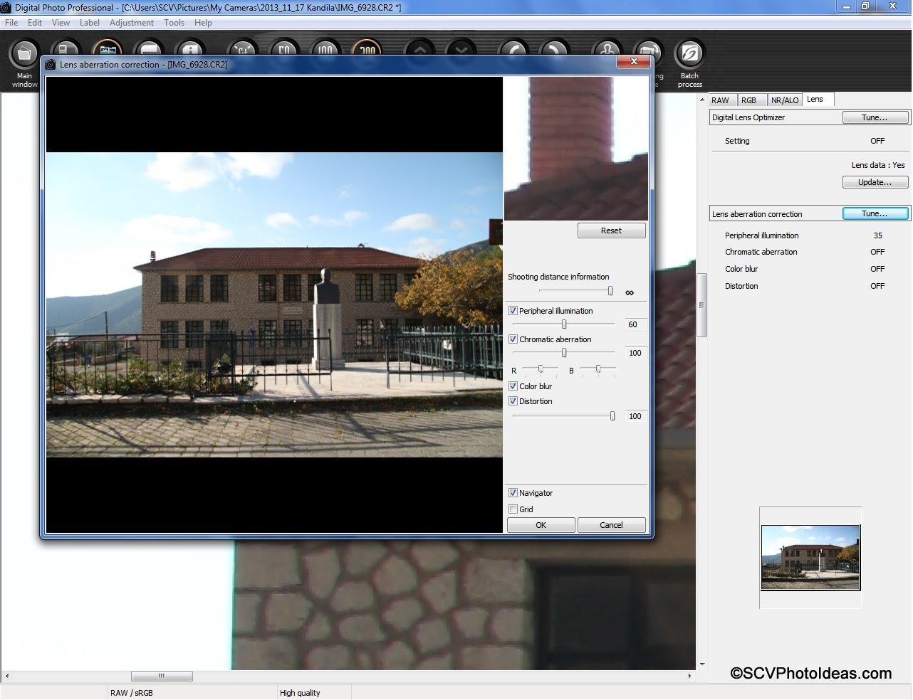 Canon EF-S 17-85 mm Chromatic Aberration processing in Canon Digital Photo Pro