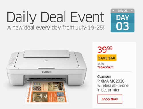 The Source Daily Deal Event Canon Pixma Printer $60 Off