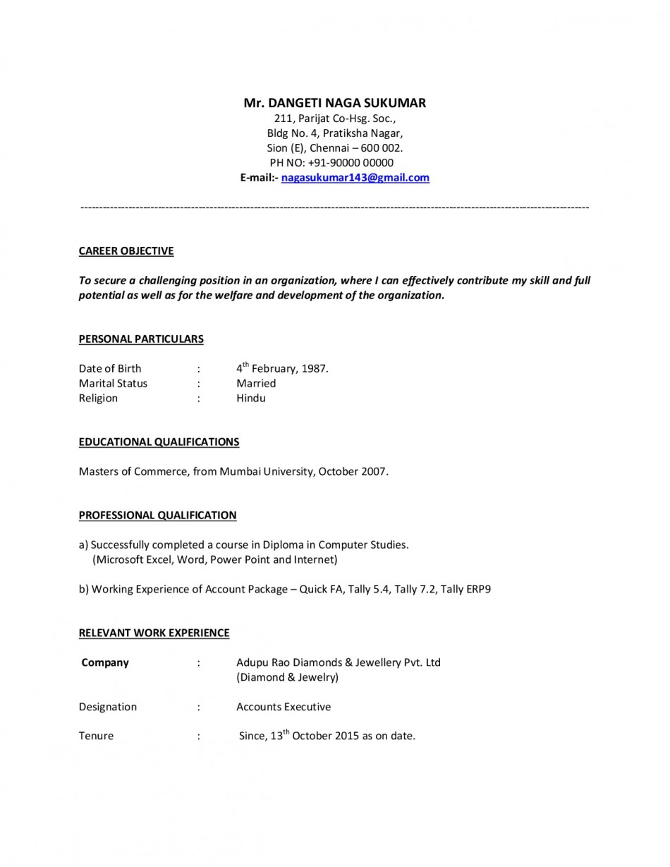 M.COM Experienced Resume/CV/Samples - Download!! - Resume Samples ...