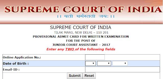 Supreme Court Junior Court Assistant Admit Card