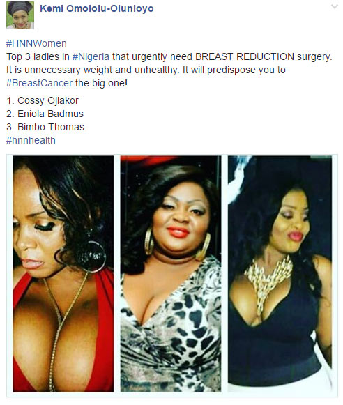Kemi Olunloyo: Cossy Ojiakor needs to reduce size of her breasts to avoid cancer