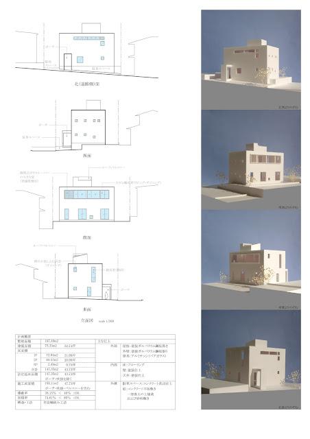 親密な光の気配を内に持つくっきりとした外観の家 外観の計画