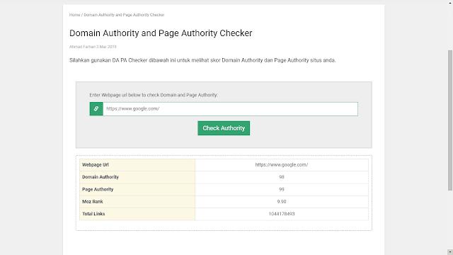 Cara Mengetahui Skor Domain dan Page Authority