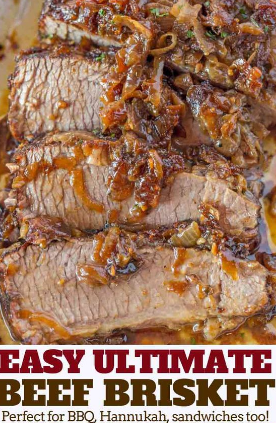 EASY BRISKET WITH CARAMELIZED ONIONS