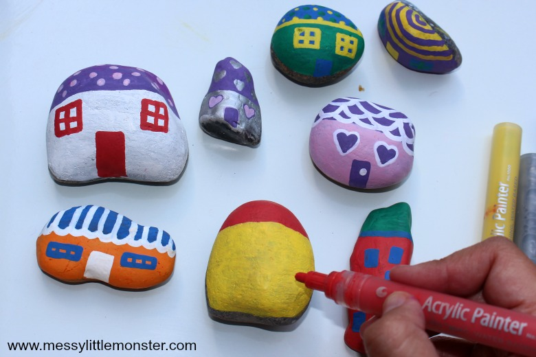 easy rock painting ideas - painted rock fairy houses
