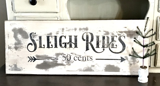 Rustic Chippy Sleigh Ride sign DIY tutorial