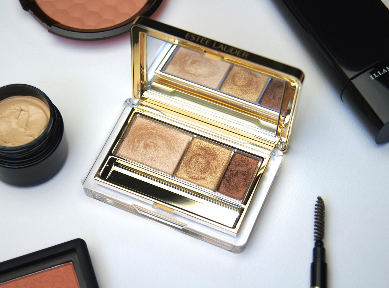 estee lauder pure color intense eyeshadow trio 05 gilded chocolates review