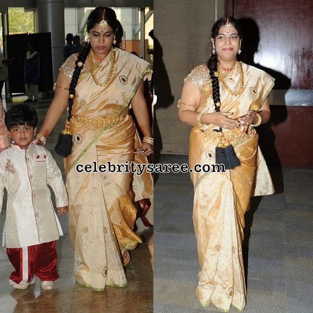 Actor Naresh wife Off White Saree
