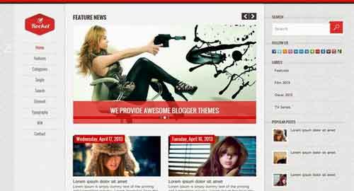 Rocket Red Blogger Template