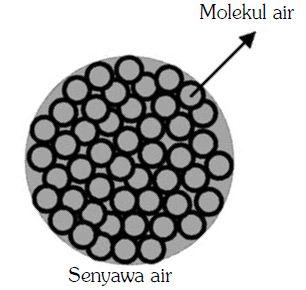 Struktur senyawa air yang disusun oleh molekul air.