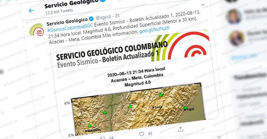 Temblor en Colombia de Magnitud 4.6 (Hoy Jueves 13 Agosto 2020) Terremoto - Sismo - Epicentro - Acacías - Meta - Villavicencio - En Vivo Twitter - Facebook - www.sgc.gov.co