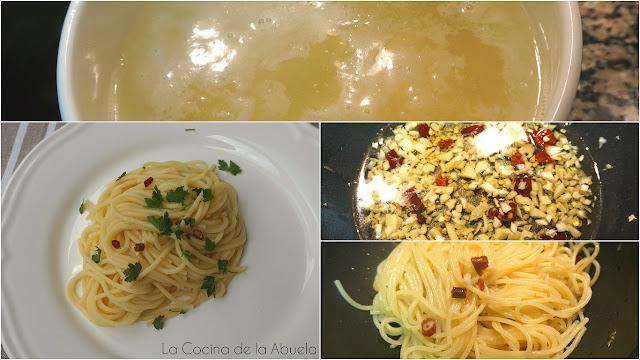 Spaguettis aglio, olio e peperoncino