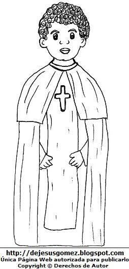 Imagen de San Martín de Porres para niños para dibujar colorear e imprimir. Dibujo de San Martín de Porres de Jesus Gómez