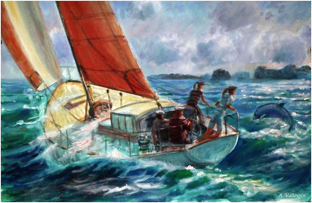 Óleo de un yate navegando a vela al atardeder junto a un delfín