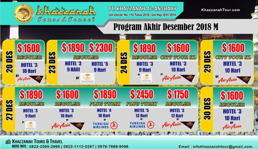 Umroh Desember 2018 Khazzanah Tours