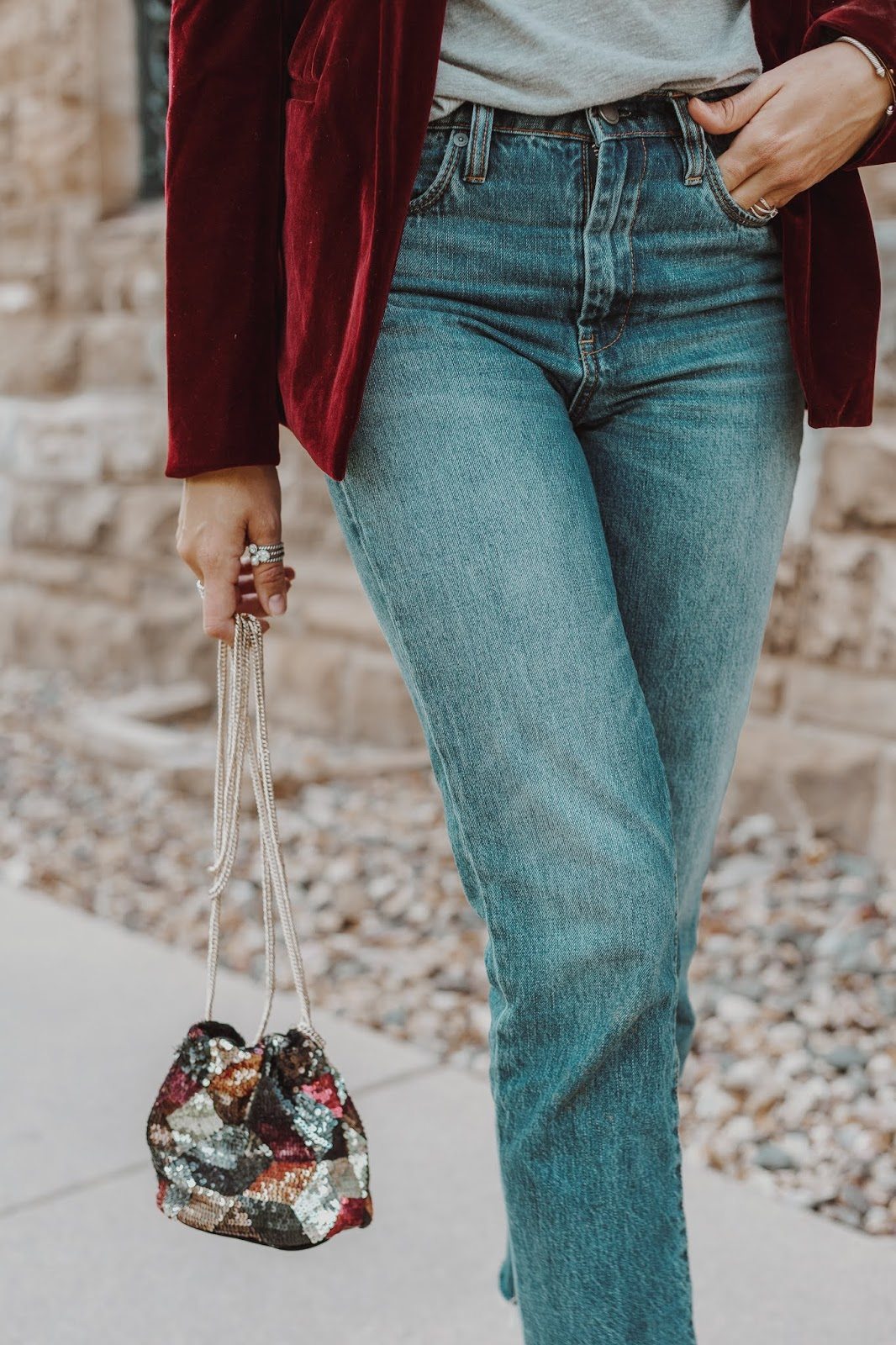 Sequin Bucket Bag