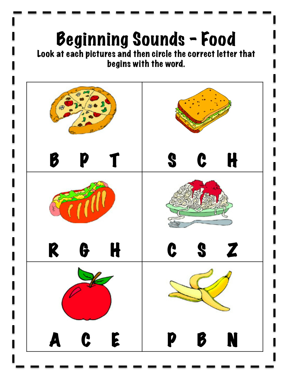 Worksheet Beginning Sounds