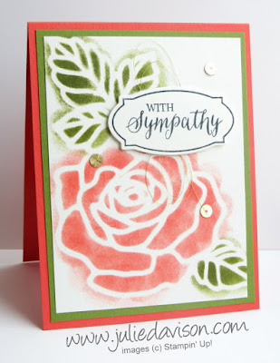 VIDEO: Stampin' Up! Rose Wonder Rose Garden Sponged Sympathy Card #stampinup 2016 Occasions Catalog www.juliedavison.com