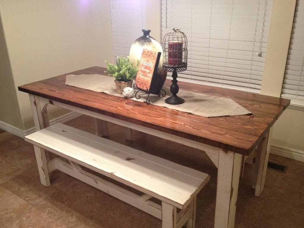 farm style kitchen table and benches to farm style kitchen table Provincial stained table Legs are white with antique rub Very sturdy Table has a hard finish on top Can custom order any size or color to match