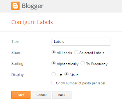 Adding Labels Cloud Widget
