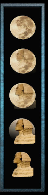 4 images showing the transformation of the Sphinx of Giza transforming into the face on the moon. Created by Barbara Ivie Green