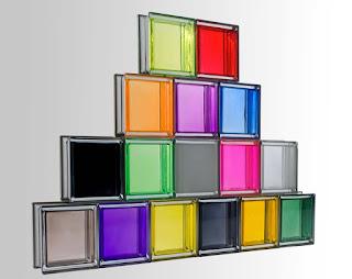 les 16 couleurs de la collection de briques de verre Mendini