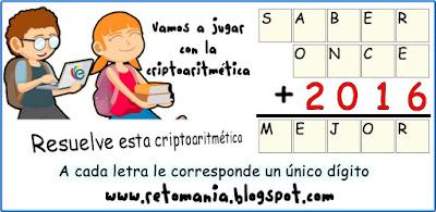 Criptoaritmética, Alfamética, Criptosumas, Criptogramas, Desafíos matemáticos, Problemas matemáticos, Problemas de lógica, Semana E, Semana E de las matematicas