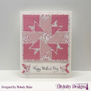 Divinity Designs Stamp Set: Grandmother's Heart, Custom Dies: Quilted Triangles, Double Stitched Pennant Flags, Mini Stitched Hearts, Embossing Folder: Cross Stitch, Pretty Pink Peonies, Christmas 2018