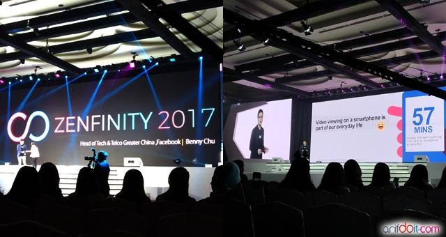 Presentasi trend video di media sosial oleh Benny Chu selaku Head of Tech Facebook