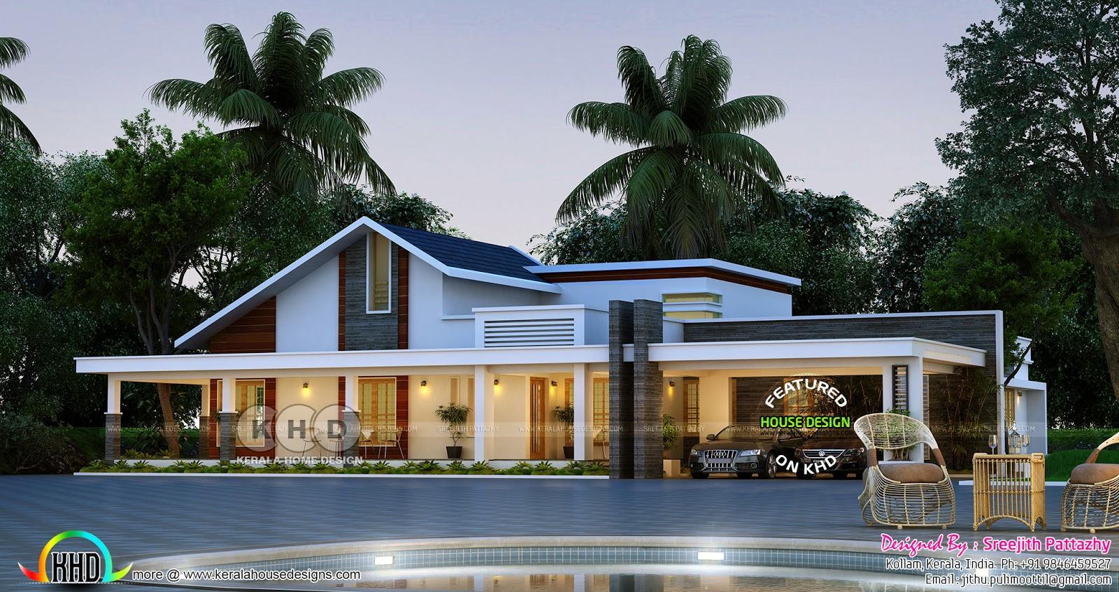 2706 Sq Ft Mixed Roof Single Floor House Kerala Home Design Bloglovin