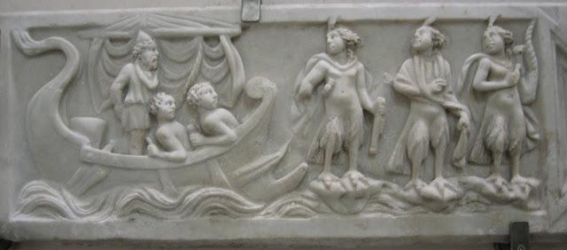 Sarcófago romano con Ulises y las Sirenas