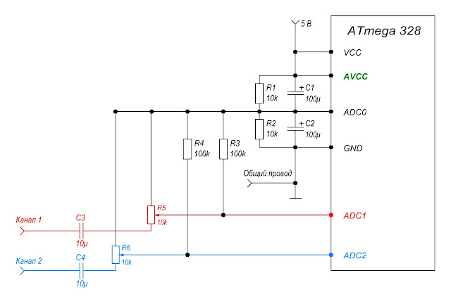 Схема подключения аудиоканалов к индикатору уровня звука на WS2812B и Arduino Pro Mini.