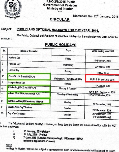Notification of Eid Holidays for Govt Employees