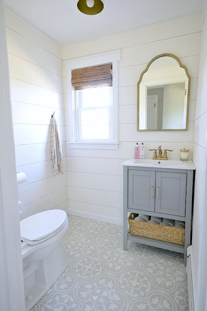 powder room cement tiles shiplap