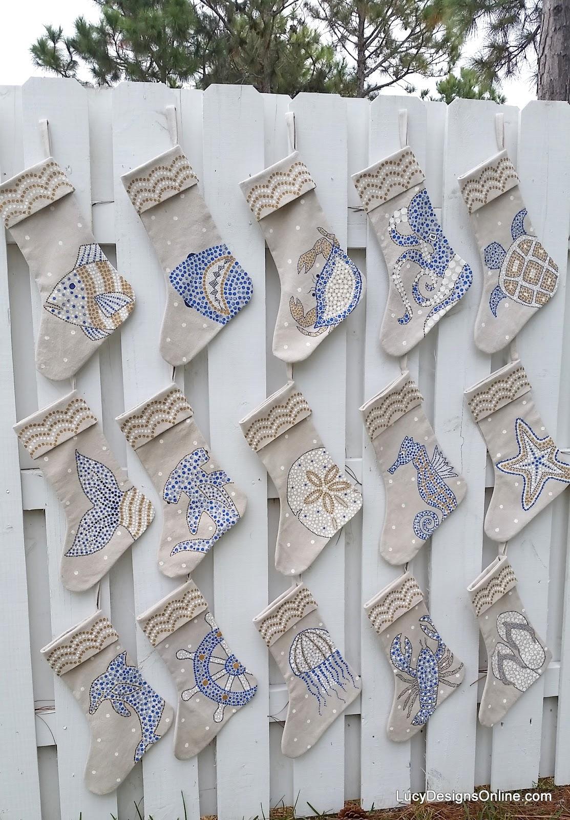 hand painted coastal stockings