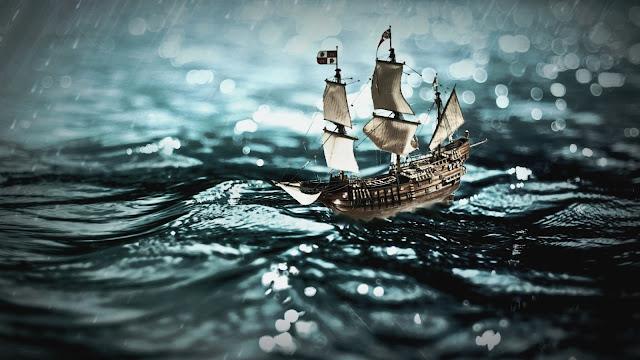 Leuke wallpaper met een schip in het water.