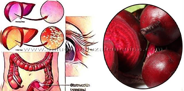 Mejora  la visión, elimina  la grasa en el hígado y previene la obstrucción del colon con remolacha, la remolacha o betabel es un super alimento, es un vegetal denso en nutrientes, contiene vitamina A, B, C, antioxidantes como betacaroteno, ácido fólico, magnesio, potasio, hierro, fibra, te ayuda mantenerte joven, vital, saludable y en forma.