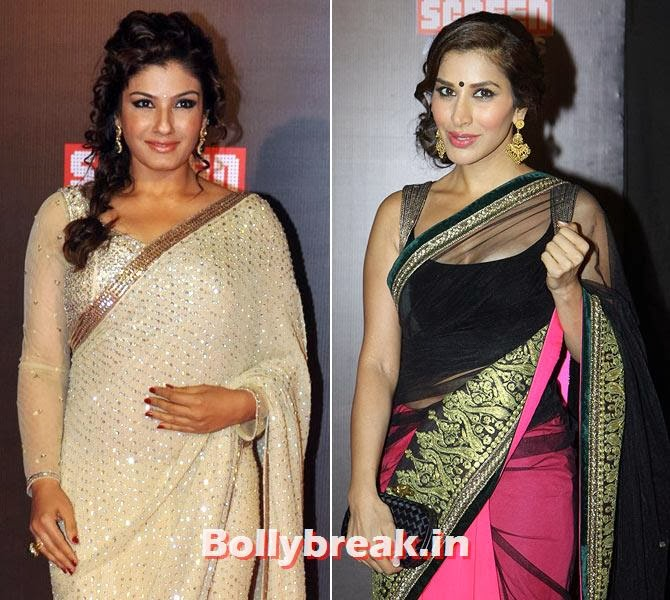 Sophie Choudhry and Raveena Tandon, Life Ok Screen Awards 2014 Red Carpet Photos