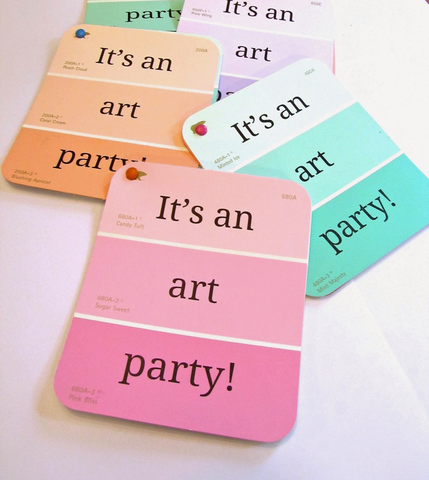 paint chip party invitaions