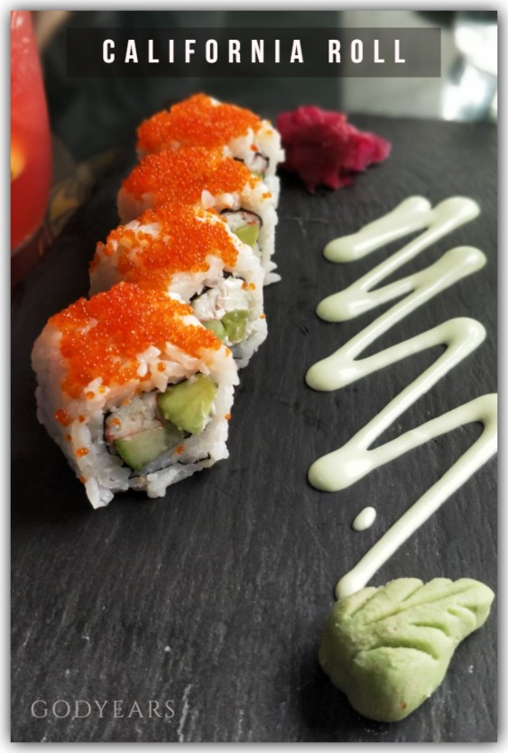 California roll is a makizushi that combines the sweetness of crab meat with the crunchiness of cucumber, the softness of avocado, the stickiness of sushi rice, the umami flavours of nori (seaweed) and yes, the crunchiness of those salmon roe used as a garnish.